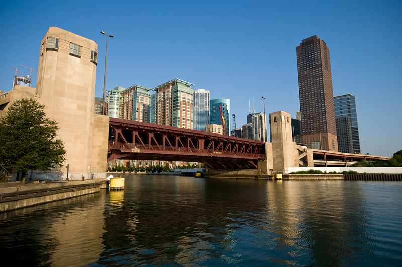 Chicago River and the Lake Shore Driver double decker two level bridge.