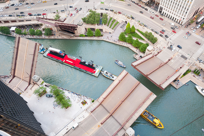 Chicago River commercial barge carrying sets for the Transformers premiere film office industry