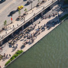 Chicago River aerial of riverwalk Cove Tiny Tapp