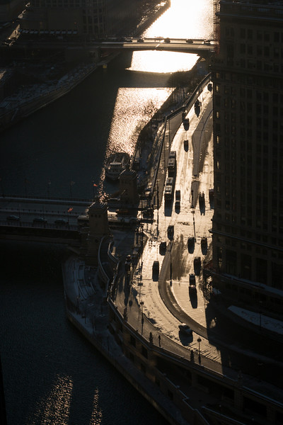 Aerial view of Chicago River and Wacker Drive