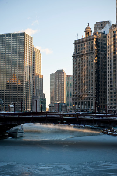 Chicago River in winter