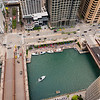 Aerial of Riverwalk Marina Plaza and State Street bridge Dearborn Street bridge