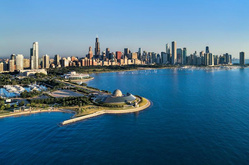 Adler Planetarium with Monroe Harbor and Chicago Skyline