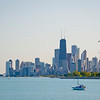 View of Lake Michigan, boats and Downtown Chicago with boat