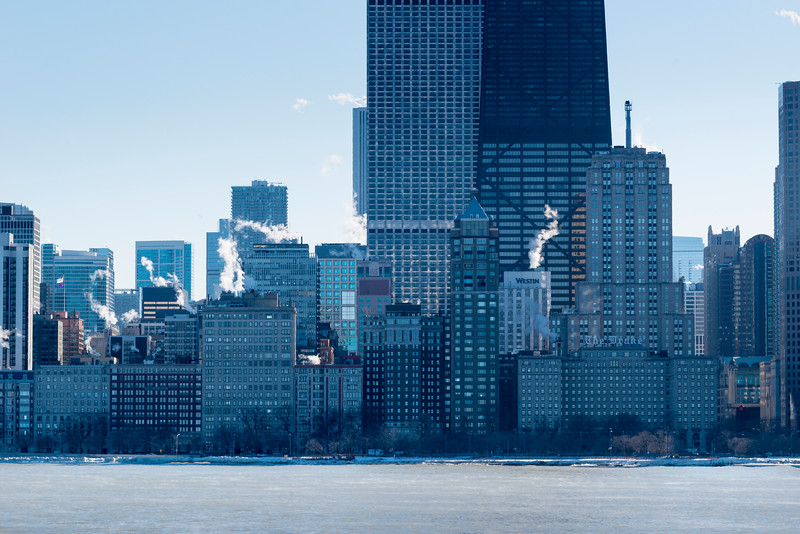 Chicago skyline view in winter