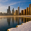 View of Downtown Chicago and Lake Michigan in winter