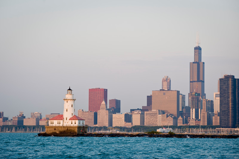 View of Lake Michigan, lighthouse and Downtown Chicago