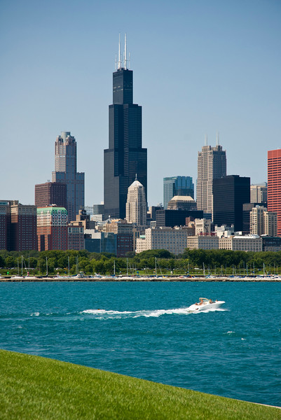 View of Downtown Chicago and Lake Michigan