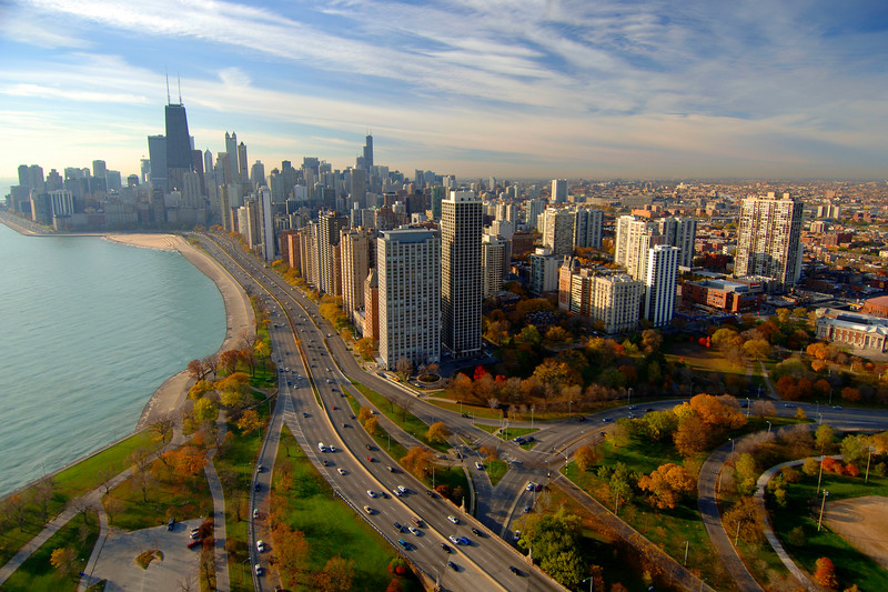 Aerial of Lake Shore Drive and Lincoln Park