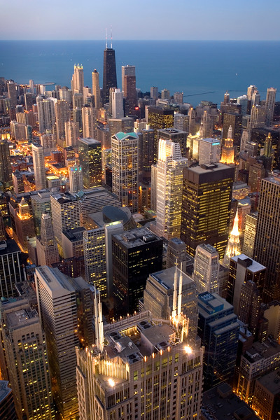 Aerial of Downtown Chicago Buildings