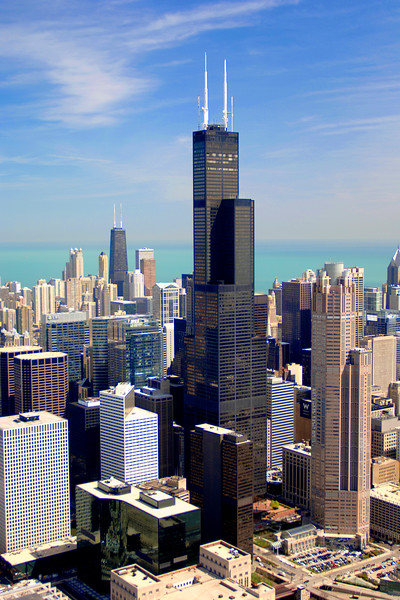 Aerial of Sears Tower and Downtown Chicago
