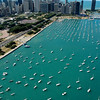 Aerial of Burnham Harbor in Chicago