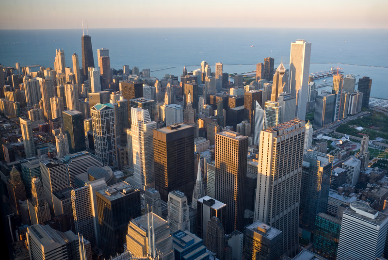 Downtown Chicago at sunset, as seen from the Skydeck in Willis Tower.
