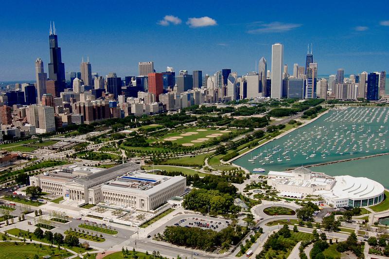 Aerial of Museum Campus in Chicago
