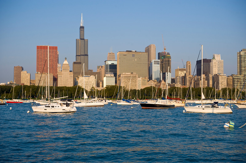 View of Lake Michigan, boats and Downtown Chicago