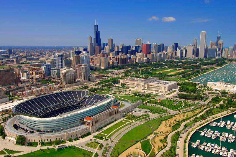 Aerial of Museum Campus in Chicago
