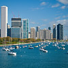 View of Lake Michigan, boats, and Downtown Chicago