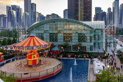 From the Navy Pier rides looking at Navy Pier rides