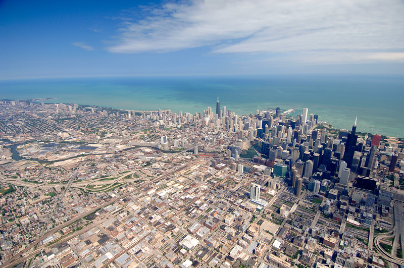 Aerial view of Chicago from the near westside looking toward downtown and Lake Michigan.