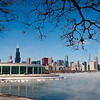 View of frozen Lake Michigan, Museum Campus, and Downtown Chicago in winter