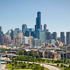 Aerial view of Chicago from near the Kennedy Expressway.