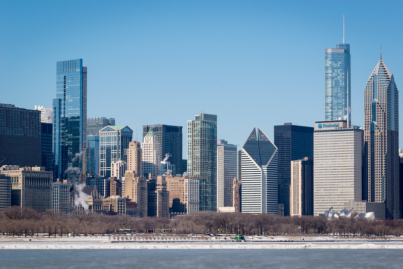 Lake Michigan and the Chicago skyline, including Millennium Park