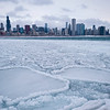 View of frozen Lake Michigan and Downtown Chicago in winter