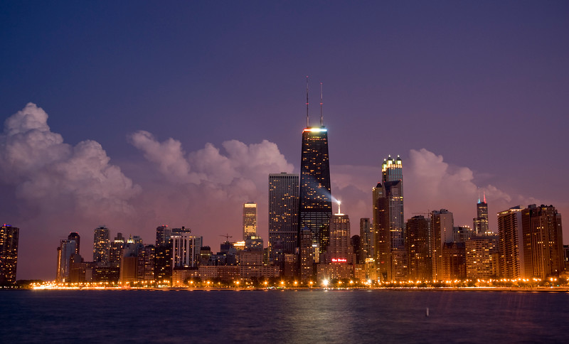View of Downtown Chicago and Lake Michigan at night
