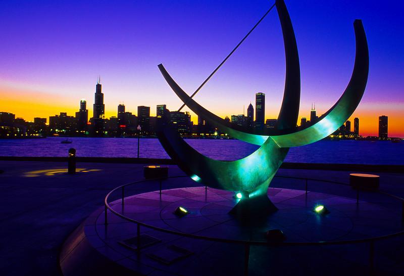 The Henry Moore Sundial Sculpture<br /> Sundial Plaza Adler Planetarium