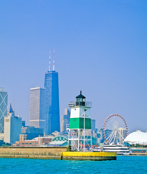 Navy Pier and Hancock Building from Lake Michigan