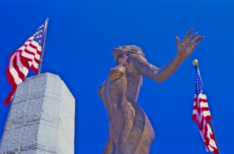 Statue on Navy Pier with American flags