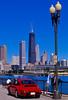 Red Porsche 911 on Navy Pier