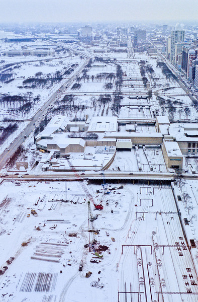 Millenium Park under construction in winter
