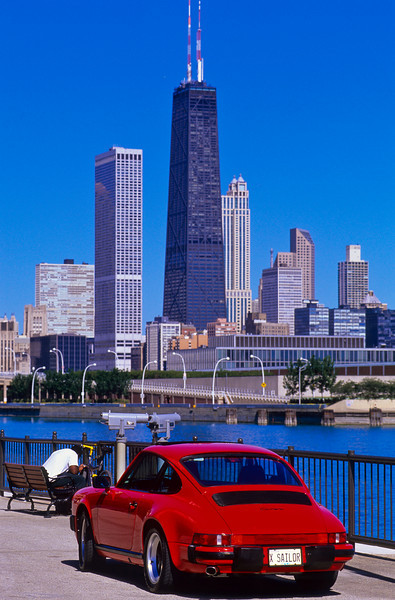 Red Porsche 911 on Navy Pier