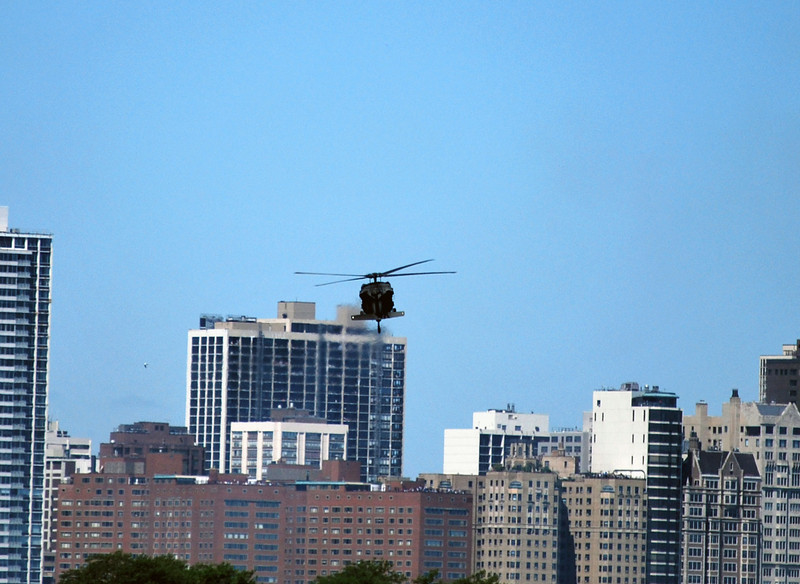 This was the only helicopter that we got to see all day, and even then it was at a distance...