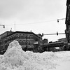 Snow mounds up to 3' right in the middle of Damen-Milwaukee-North intersection.