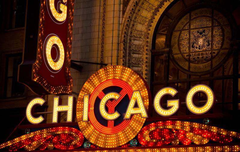 Another shot of the famous Chicago sign. 70mm 1/400 sec at F 6.3 1250 iso Shot Raw