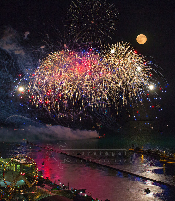 Fireworks with a Full Moon