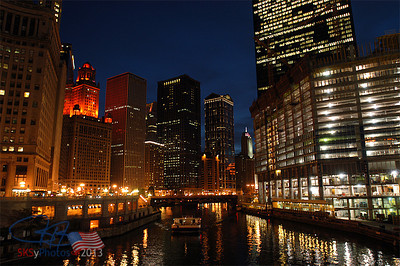 Chicago River with the growing Trump Tower on the right.  Oct. 2006