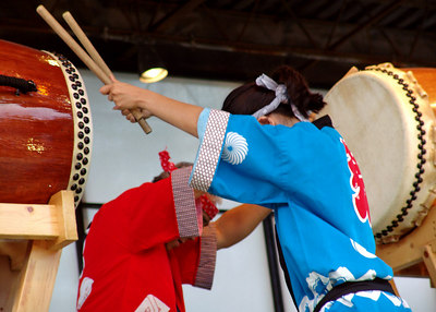 My friend Heather playing the  Taiko at the Ginza Fest in Chicago