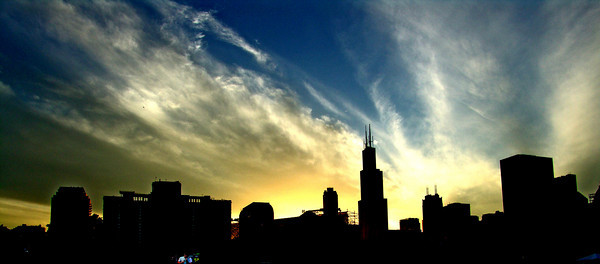 The Chicago skyline at dusk during the Lollapalooza festival 2007.