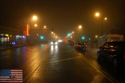 A foggy night on Western Avenue. Feb. 2008