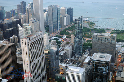 Millennium Park overview from Skydeck in the Willis Tower.