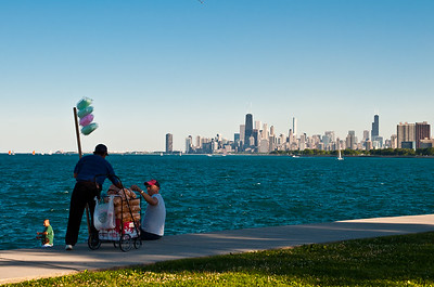 Peddling at Montrose Harbor