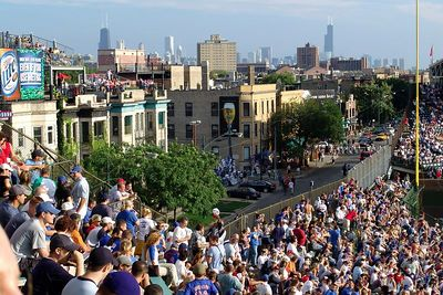 Bleachers at Wrigley Field, Skyline view