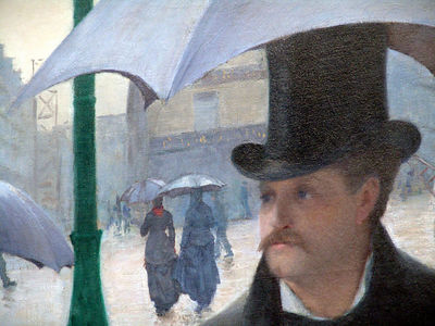 "Detail of Gustave Caillebotte's ""Paris Street in Rainy Weather"" painting, on display at the Art Institute of Chicago"