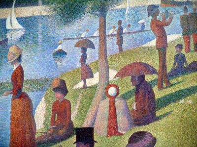 "Photograhic detail of the painting ""A Sunday Afternoon on the Island of La Grande Jatte"",Georges Seurat.  It is Oil on canvas and is on permanent display at the Art Institute Chicago."