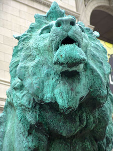 One of the famous Lions the frame the Art Institute entrance