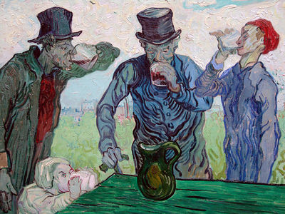 "Photograph of Van Gogh's painting ""The Drinkers"" on display at the Art Institute"