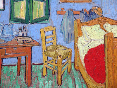 "Detail of Vincent Van Gogh's ""Bedroom in Arles"" which hangs in the Art Institute of Chicago.  This is the second version of the painting that Van Gogh created."